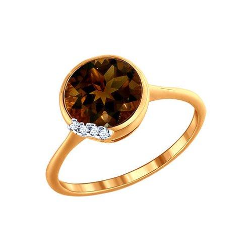 Золотое кольцо с раухтопазом круглой огранки и фианитами SOKOLOV золотое кольцо ювелирное изделие k 11013
