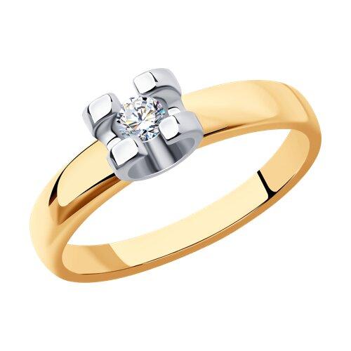 Кольцо из комбинированного золота (1011679) - фото