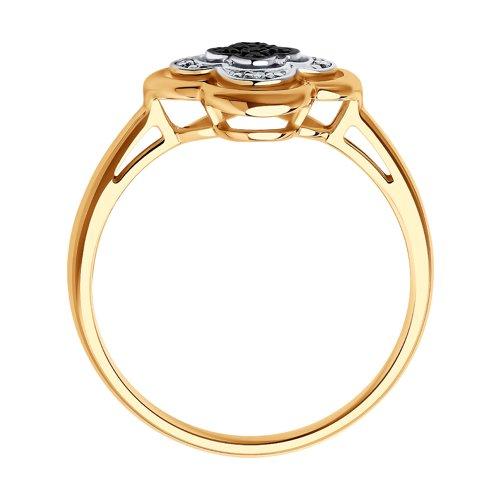 Кольцо из золота с бесцветными и чёрными бриллиантами (7010060) - фото №2