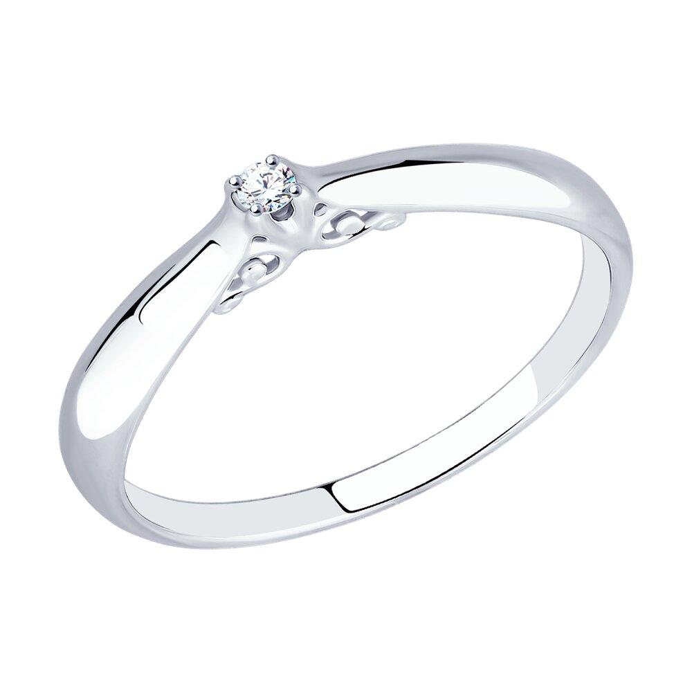 Помолвочное кольцо SOKOLOV из серебра с бриллиантом фото