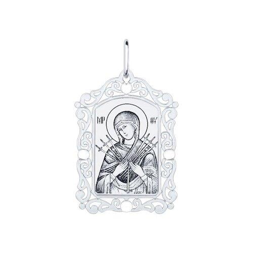Нательная иконка из серебра «Божья матерь семистрельная»