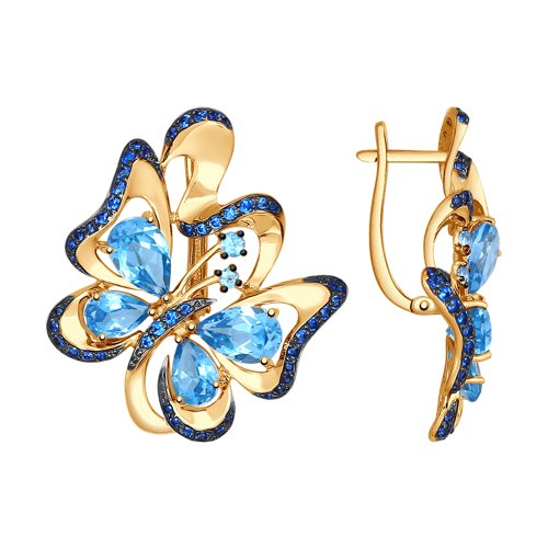 Серьги из золота с топазами и синими фианитами