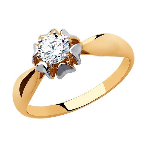 Кольцо из золота с фианитом (018293) - фото