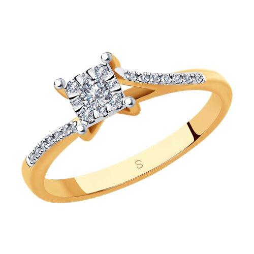 Кольцо из комбинированного золота с бриллиантами (1011877) - фото