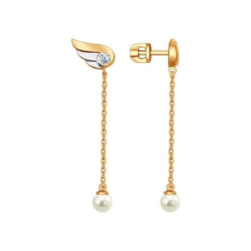 Серьги длинные из золочёного серебра с  и фианитами (93020657) - фото