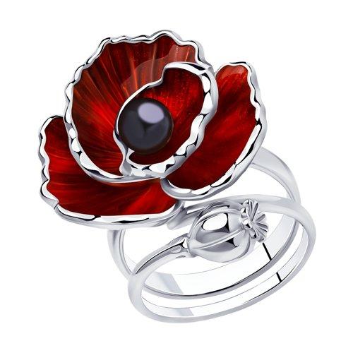 Кольцо SOKOLOV из серебра с эмалью и жемчугом подвеска из серебра с эмалью с жемчугом