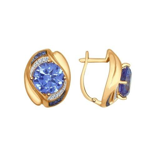 Серьги из золота с ситаллами и синими и бесцветными фианитами