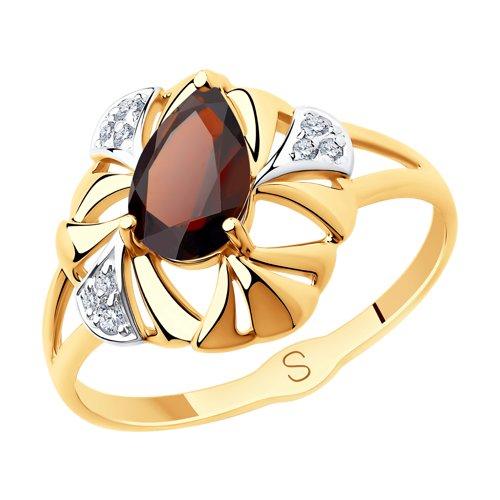 Кольцо из золота с гранатом и фианитами (715680) - фото