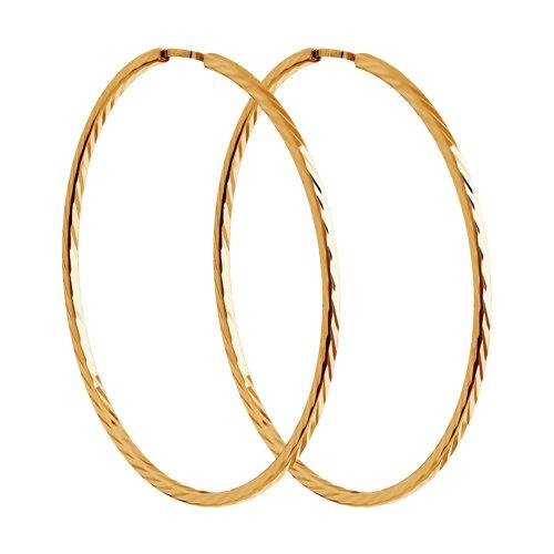 Серьги конго из золота с алмазной гранью (140068) - фото