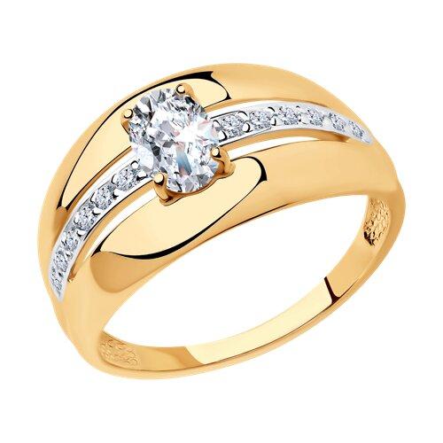 Кольцо из золочёного серебра с фианитами (93010499) - фото