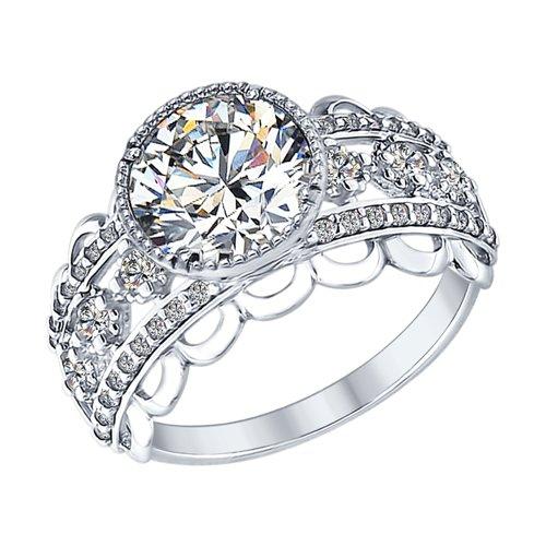 Кольцо из серебра с фианитами (94012572) - фото