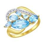 Кольцо из желтого золота с топазами и