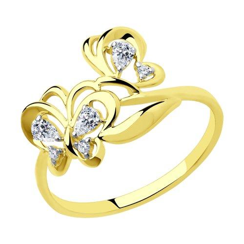 Кольцо из желтого золота с фианитами 018374-2 SOKOLOV фото