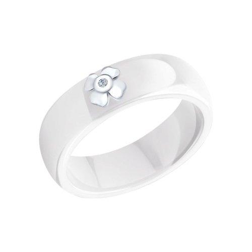 Кольцо SOKOLOV из керамики с серебром и бриллиантом «Удача»
