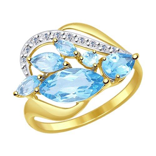 Кольцо SOKOLOV из желтого золота с топазами и