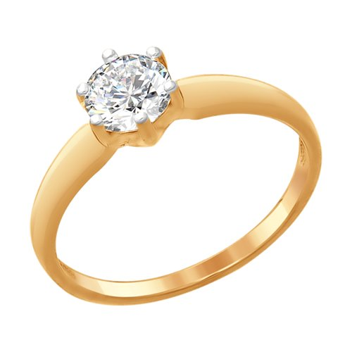 Кольцо из золочёного серебра со Swarovski Zirconia (89010073) - фото