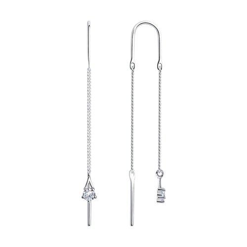 цена на Серьги-цепочки SOKOLOV из серебра с фианитами