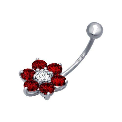 Серебряное украшение для пирсинга пупка с цветком SOKOLOV украшение для пирсинга пупка с пантерой sokolov