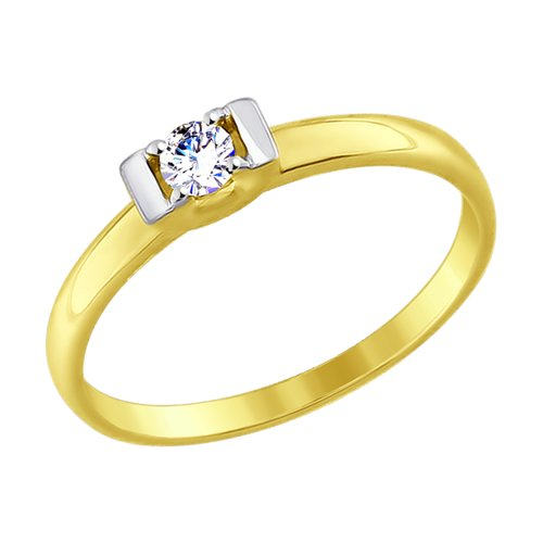 Кольцо из желтого золота с фианитом (017465-2) - фото