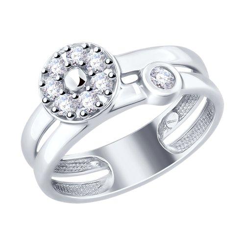 Кольцо из серебра с фианитами (94012496) - фото