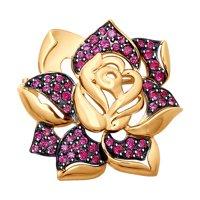 Золотая брошь «Роза» с красными фианитами