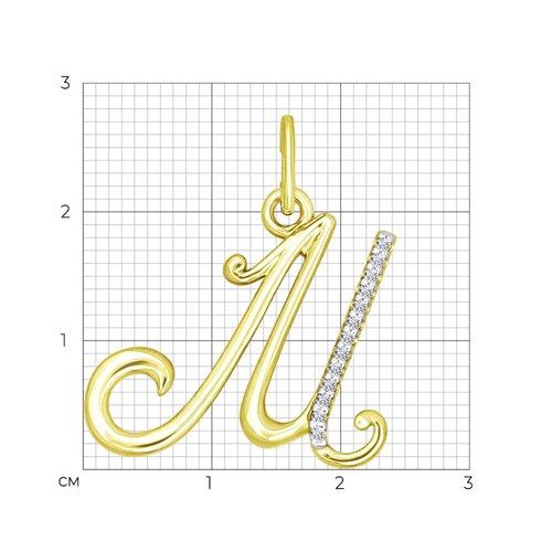 Подвеска из желтого золота с фианитами (034535-2) - фото №2