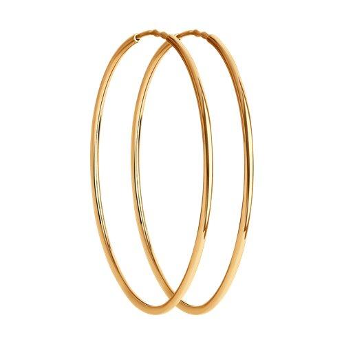 """Золотые серьги """"Конго"""", диаметром 35 мм. 140060 sokolov фото"""