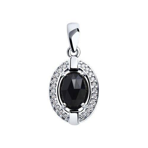 Подвеска из серебра с чёрным агатом и фианитами (92030567) - фото
