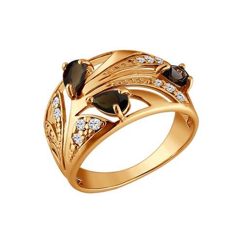 Кольцо из золота с коричневыми фианитами (015420) - фото