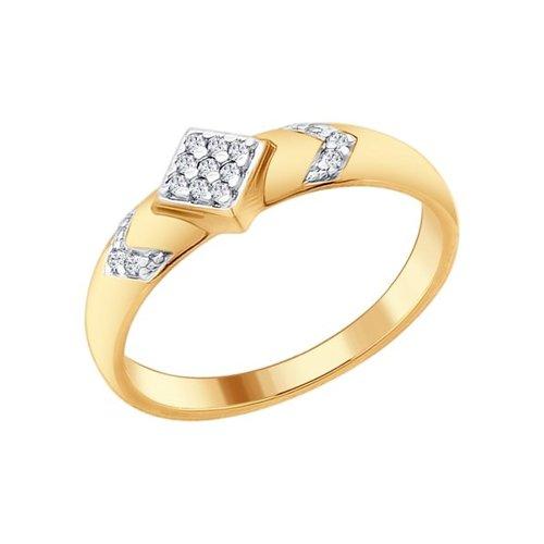 Кольцо из золочёного серебра с фианитами (93010624) - фото