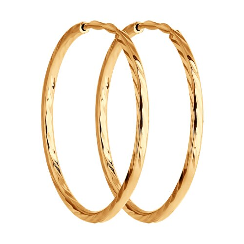 """Золотые серьги """"Конго"""", диаметром 20 мм. 140012 sokolov фото"""