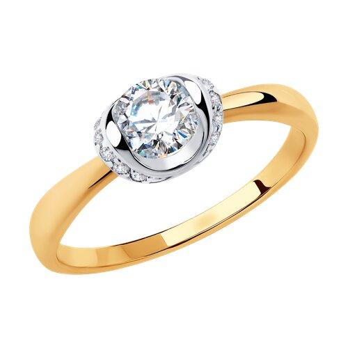 Кольцо из золота с фианитами (018253) - фото