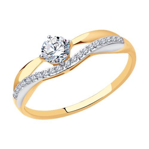 Кольцо из золота с фианитами (017142) - фото