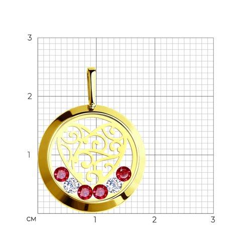Подвеска из желтого золота со Swarovski Zirconia, минеральным стеклом и красными фианитами (035191-2) - фото №2