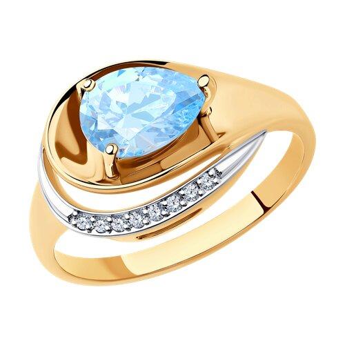 Кольцо из золота с топазом и фианитами (715239) - фото