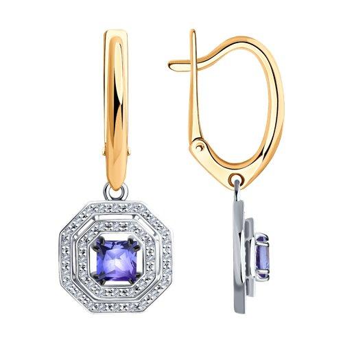 Серьги из комбинированного золота с бриллиантами и танзанитами
