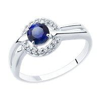 Кольцо из серебра с корундом и фианитами