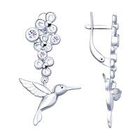 Серебряные серьги «Колибри»