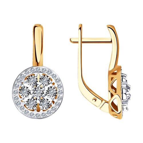 Серьги из комбинированного золота с бриллиантами (1021463) - фото