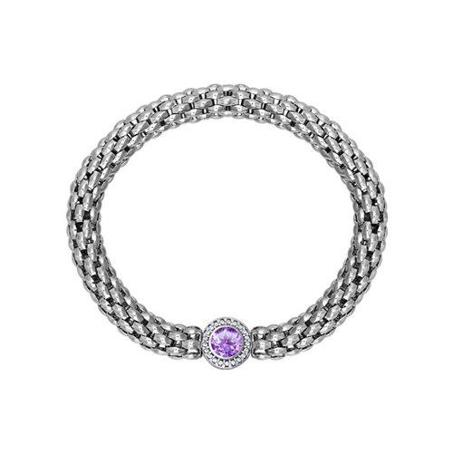 цена на Широкий серебряный браслет с аметистом SOKOLOV