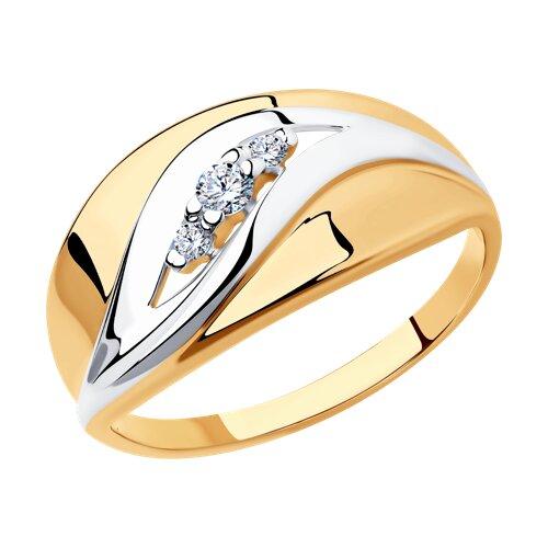 Кольцо из золочёного серебра с фианитами (93010681) - фото