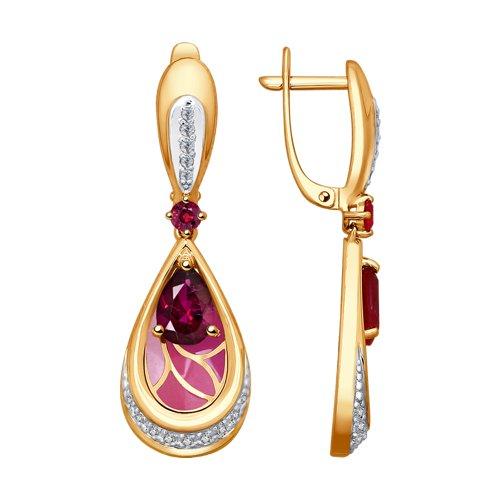 Серьги из золота с эмалью с бриллиантами и рубинами (6029027) - фото