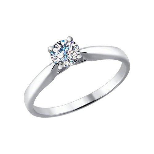 Помолвочное кольцо из белого золота (9010043) - фото