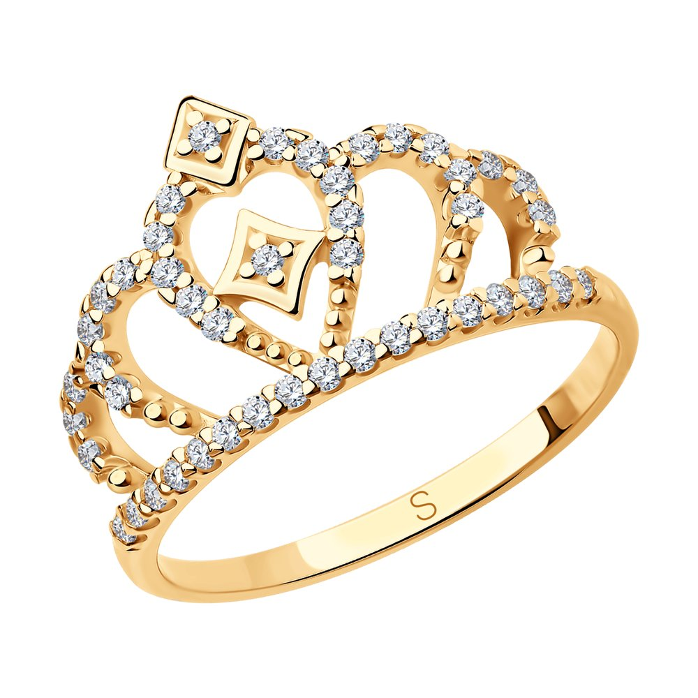 Позолоченное кольцо корона SOKOLOV