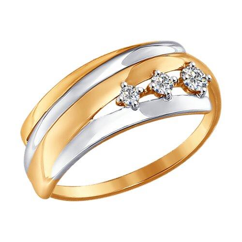 Кольцо из золота с фианитами (017335-4) - фото