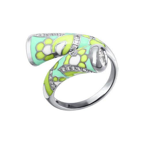 Серебряное кольцо с салатовой эмалью SOKOLOV