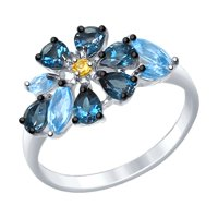 Кольцо из серебра с голубыми и синими топазами и жёлтым фианитом