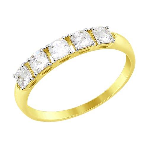 Кольцо из желтого золота со Swarovski Zirconia (81010330-2) - фото