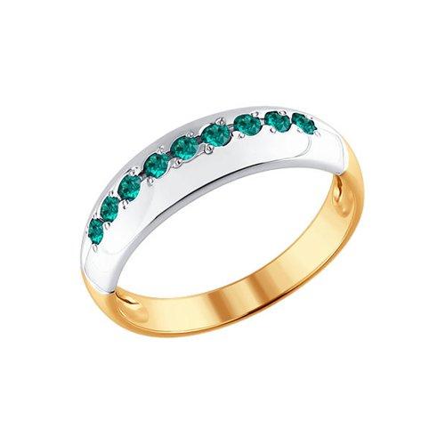 Фото - Комбинированное кольцо с SOKOLOV изумрудной дорожкой кольцо с дорожкой sokolov из чёрных бриллиантов