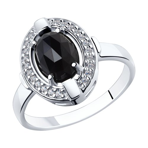 Кольцо из серебра с чёрным агатом и фианитами (92011798) - фото